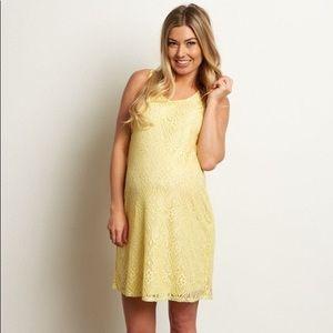 PinkBlush Yellow Sleeveless Lace Maternity Dress